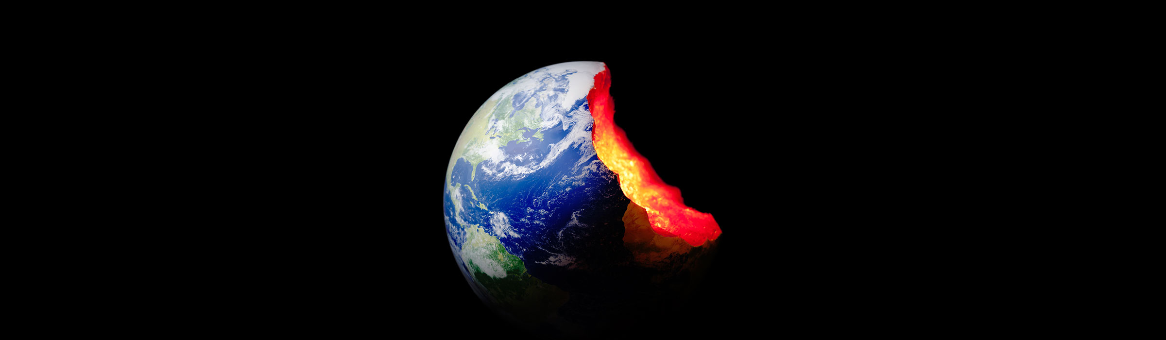 The Earth in front of a black background, with part of it missing to show the molten rock deep inside.